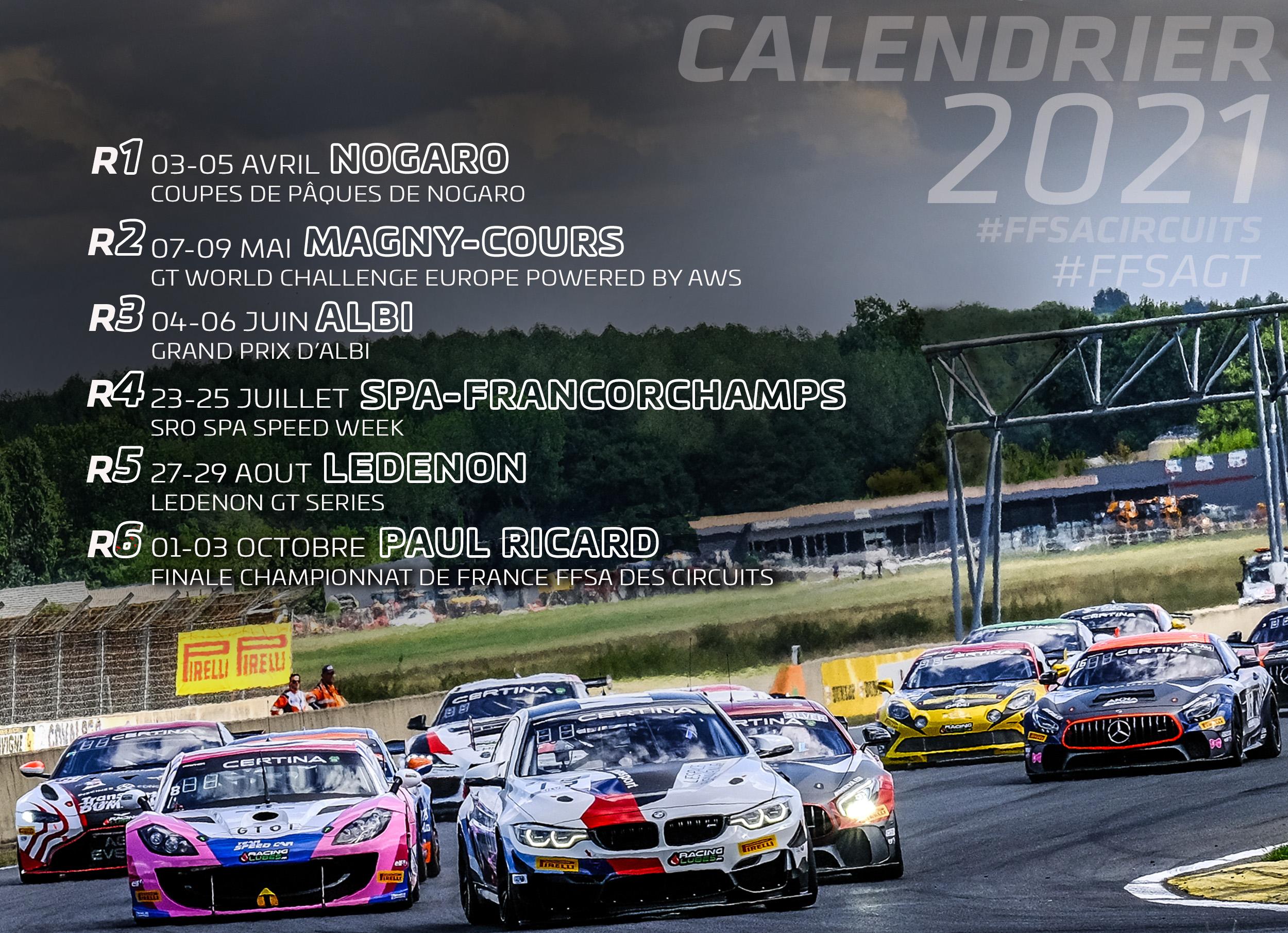 Circuit Ledenon Calendrier 2021 Le Championnat de France FFSA GT 2021 se dévoile déjà ! | FFSA GT